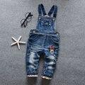 ¡ Nuevo! envío libre del otoño del Resorte Del Bebé niñas demin pantalones del babero del bebé arco de las muchachas niños de la historieta de los niños Dulces trajes