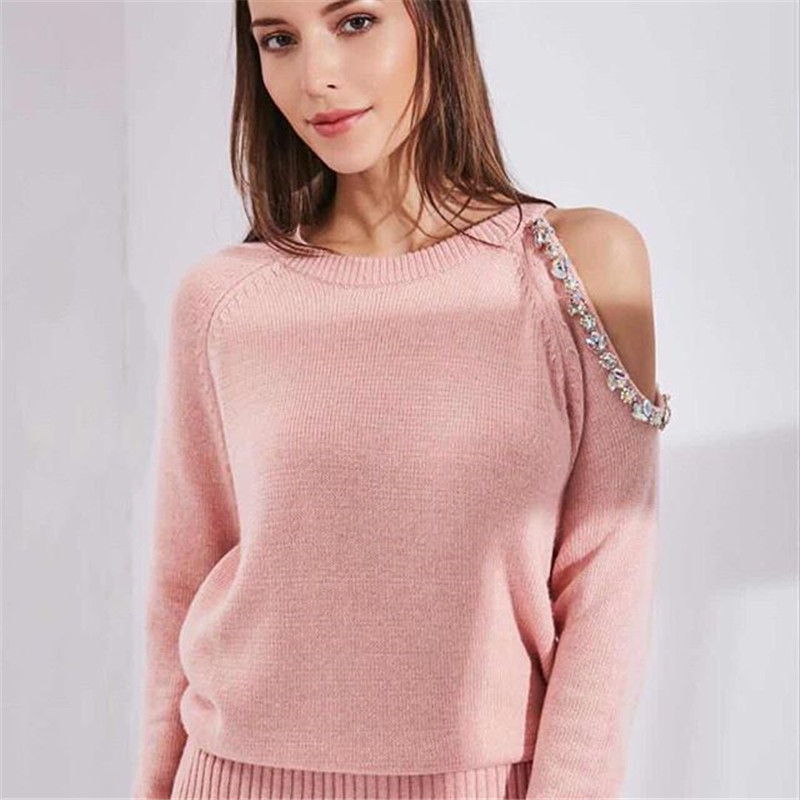 Automne Hiver Tricoté Survêtement Perlée Hors Épaule Shirts décontracté vêtement pour femme 2 Pièce Mis En Tricot Pantalon tenue de sport Femme