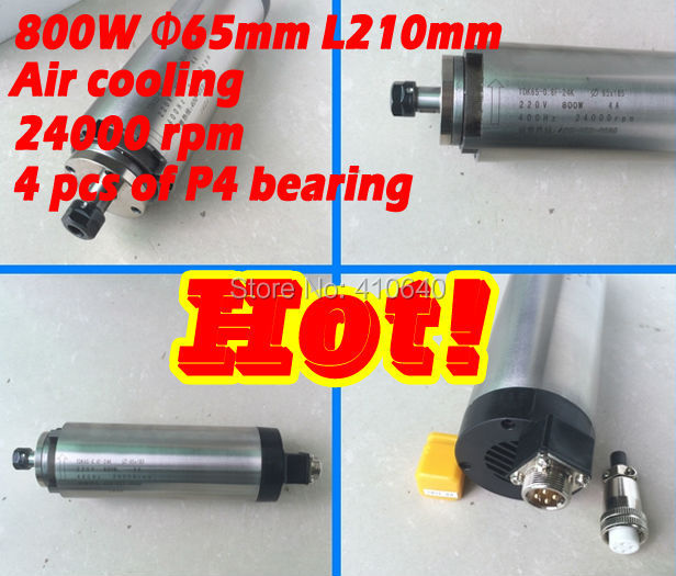 800w air cooling spindle Max speed 24000 rpm for CNC router diameter 65mm air cooling 220v with 4 pieces of P4 bearing  цены