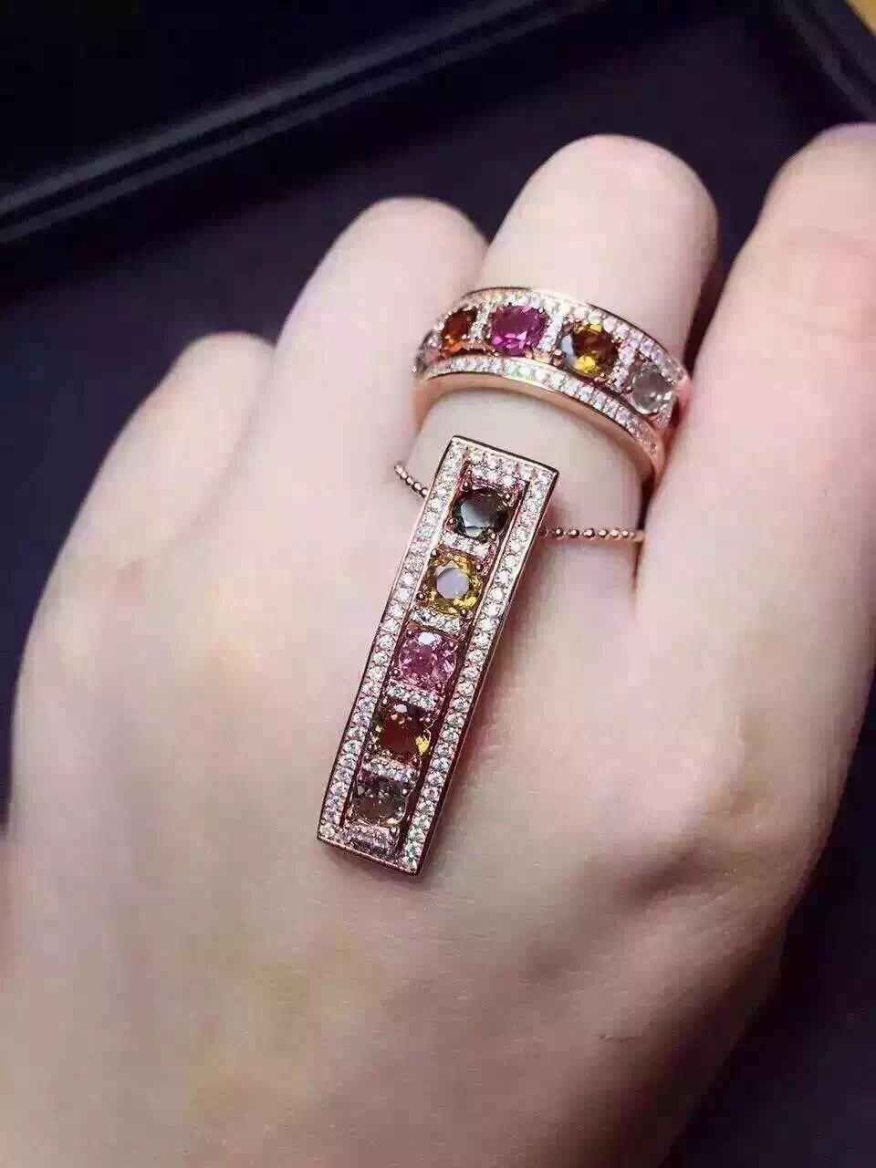 Natural multicolor turmalina gema de la joyería fija el anillo natural de  la piedra preciosa colgante de plata 925 dos tipos de desgaste conjunto  joyería ... 18c90b07da