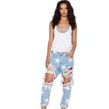 2017 Women Print Five-pointed Star Vintage boyfriend Holes Ripped Jeans Denim Blue White Trousers Female Denim Lady Pants YM184