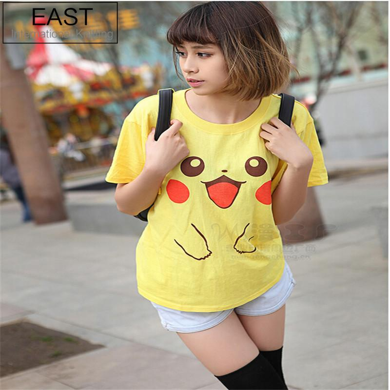 41253d8491e east-knitting-h988-2017-new-summer-font-b- · EAST KNITTING H988 2017 New Summer  Pokemon Go Funny T-shirt Pikachu Printed Yellow Harajuku Tops Women Tshirt  ...