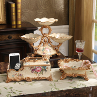 European Luxury Dried Fruit Plate Set Of Three Pieces Of Jewelry Ornaments Home Furnishing Vase Box
