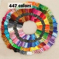 447/250 Colors Mix Color Cotton Embroidery Thread Floss Kits for DIY Cross Stitch Sewing Skein Crafts 6 Strands 8m Sewing Skein