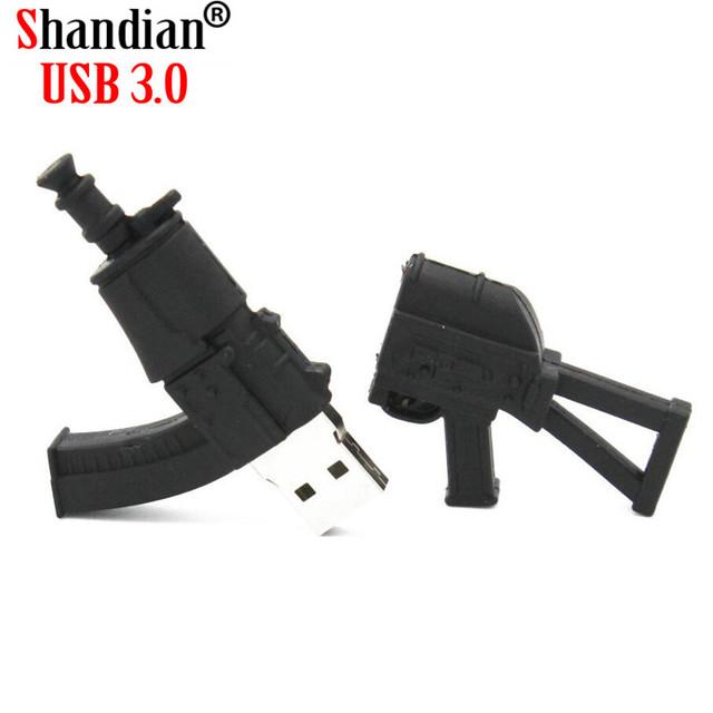 SHANDIAN COOLU disk mini pen drive ak47 gun gift pendrive 4gb 16gb 32gb 64gb Pistol submachine gun usb flash drive bulldog rifle