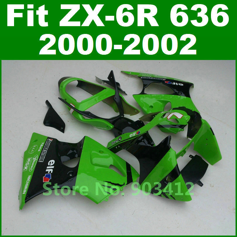 Real photo for kawasaki zx6r fairing kit 00 01 02 green black ninja zx636 body kits 2000 2001 2002 zx