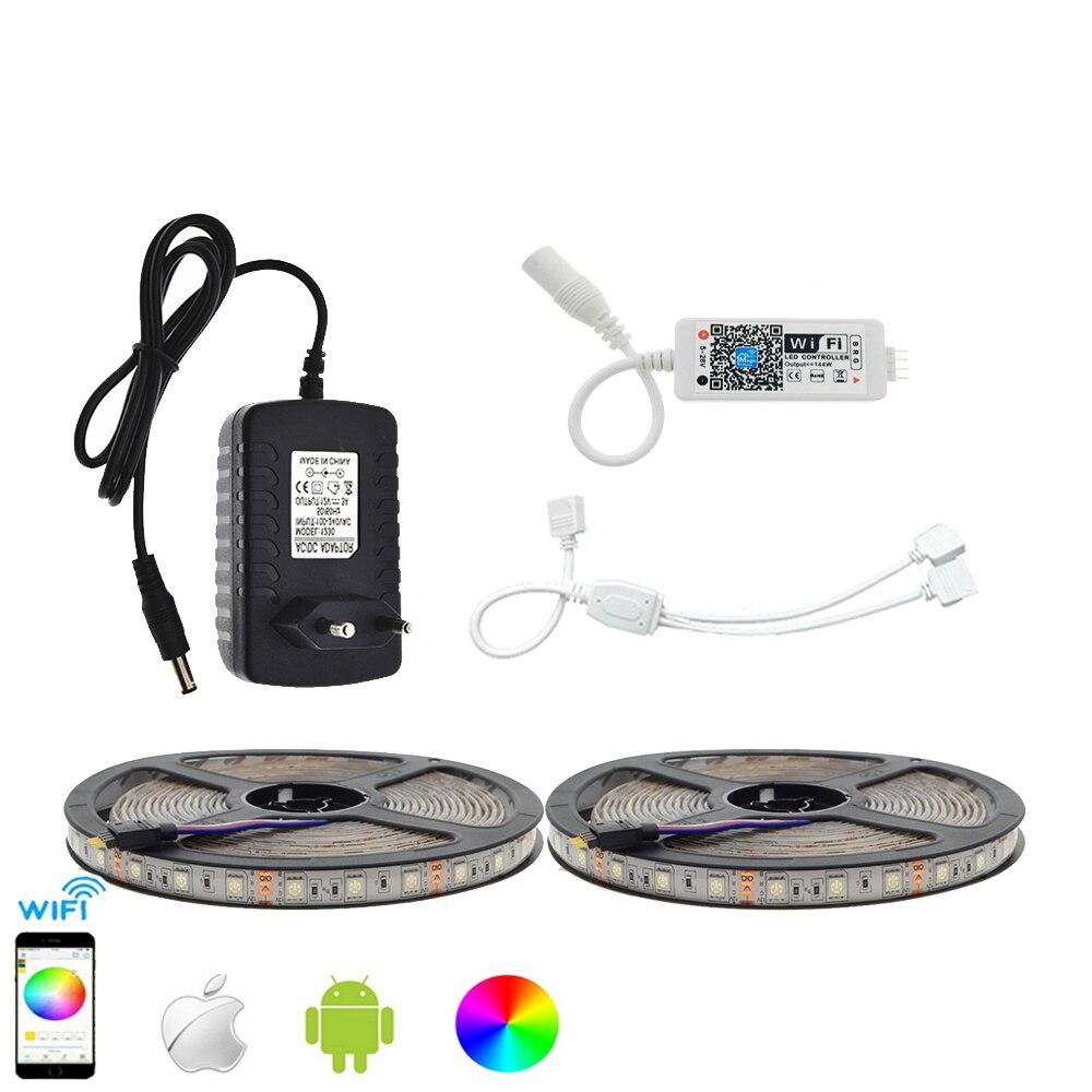 LED Strip Set IP65 Waterproof 5050 RGB 10M 600LED Flexible Strip Light APP Control MIni Wifi