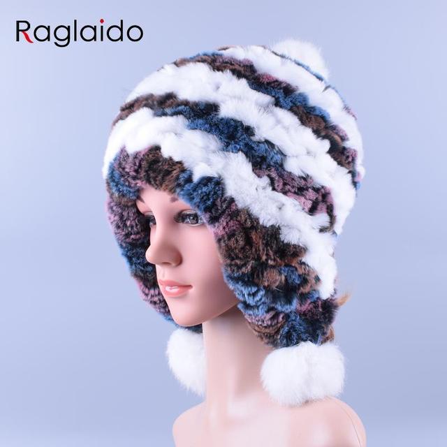 22865a01bf8 Raglaido Rex Rabbit Fur Hats for Women s Soft Winter Ear Cap Flexible  Multicolor 100% Real