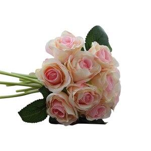 Image 5 - 1 buket 10 adet yapay kırmızı gül kafa çiçek düğün gelin ipek buket doğum günü partisi sevgililer günü ev dekorasyon