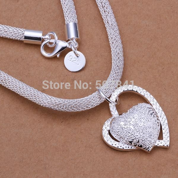 charms for women cute wedding silver Plated necklace jewelry silver jewelry fashion cute Heart pendant necklace TOPquality N270