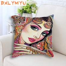 New Beautiful Indian Girl Printed Cushion Linen Cotton Decorative Home Decor Sofa Throw Pillow For Girls Room Decoration