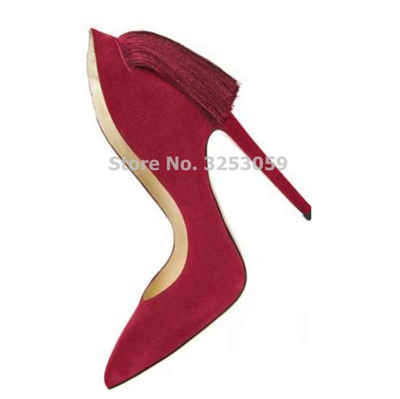 ALMUDENA חינני סגול אדום זמש מחודדת הבוהן פרינג 'משאבות פגיון עקבים נעלי חתונה ציצית סלבריטאים אירועים משאבות Dropship