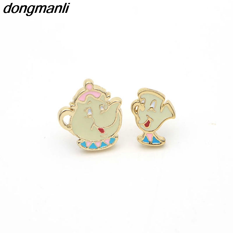 P94 Alloy Emalje Lovely Cartoon Beauty og Beast øredobber Cosplay smykker Kjente Movie Cups Stud øredobber Kids Ear Studs