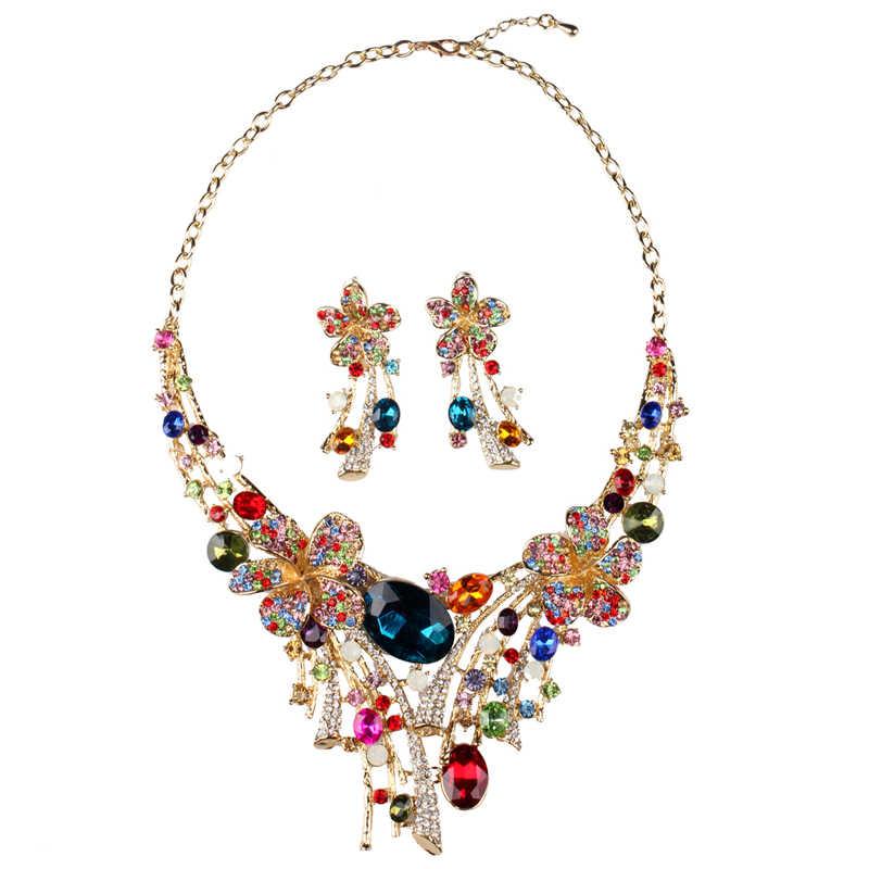 Heißer 2019 Neue Österreichischen Kristall Schmuck Luxus Große Bunte Blume Hochzeit Braut Schmuck set Aussage Halskette Ohrringe