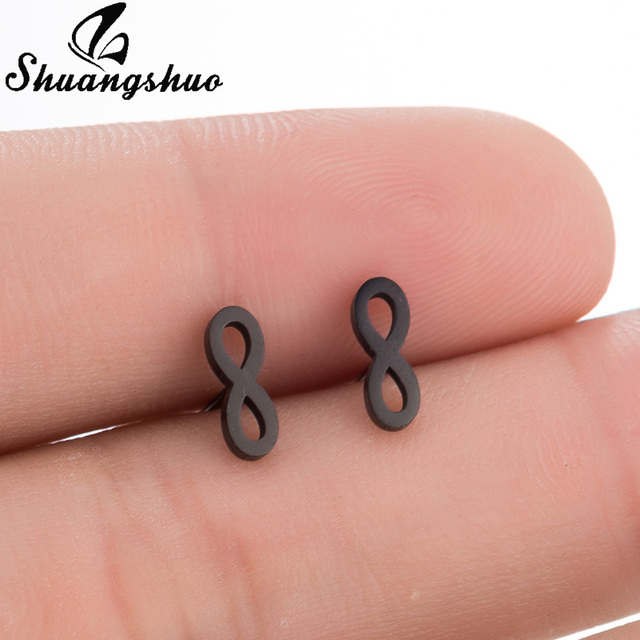 US $0 63 38% OFF|Shuangshuo Tiny Infinity Stainless Steel Earrings Simple  August Infinity Stud Earrings for Women Lucky Number 8 Eight Earring-in  Stud