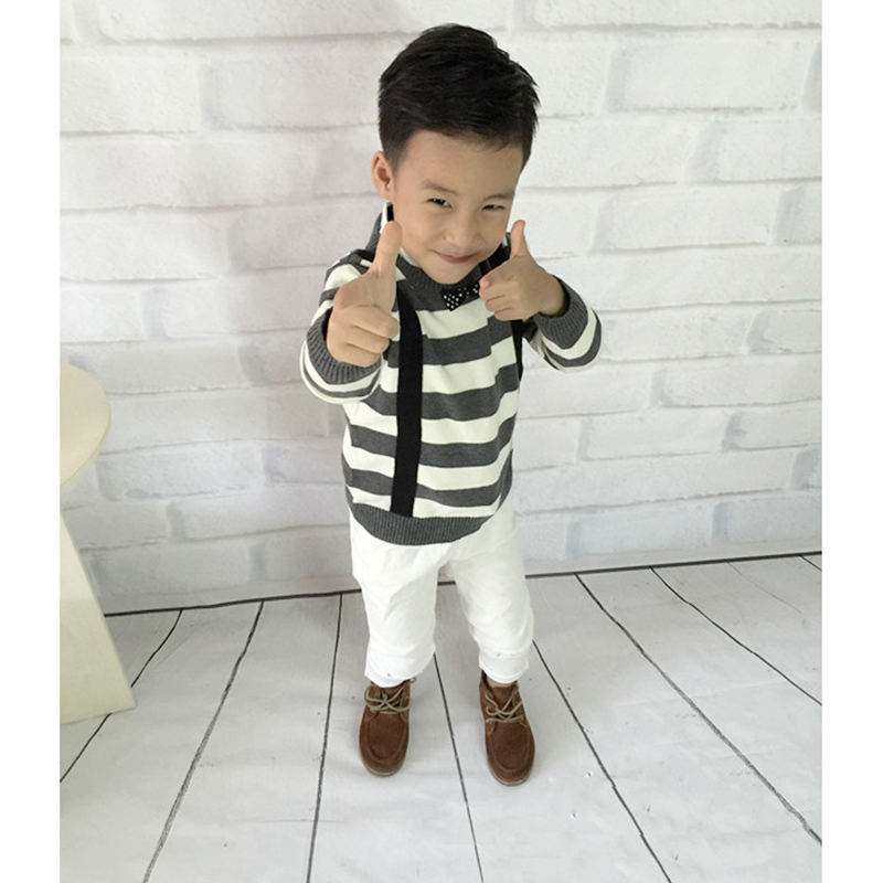 fd9ba6e40c31 Fashion Knitted Kids Sweater With Tie Striped Cotton Boys Pullovers Sweater  Autumn Winter Patterns Crochet Children Clothing-in Sweaters from Mother    Kids ...