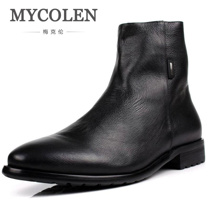 MYCOLEN Men Boots Genuine Leather Italian Black Brown Luxury Fashion Casual Ankle Boots Men Shoes Male For Wedding Business men autumn winter genuine leather italian black luxury fashion casual plush ankle boots mens shoes male for wedding business 09