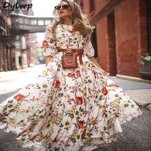 цена на Women Chiffon White Maxi Dress Flower Printed Lantern Sleeve Bohemian Dresses 2019 Summer Ladies Round Neck Long Boho Dress