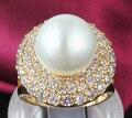 Большой имитация перл кольца для женщин красивый дизайн мода ювелирные изделия с сверкающих циркон ALW1740
