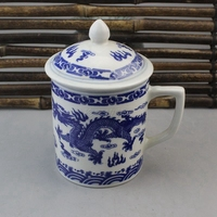 Chinese old porcelain Blue and White Shuanglong Teacup