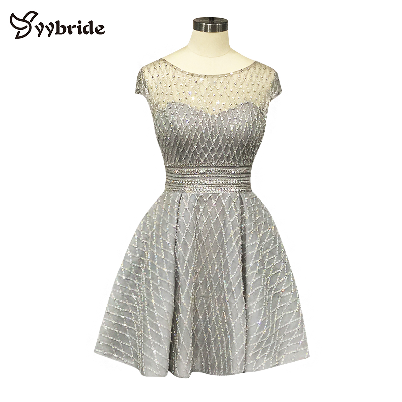 YYbride Customized Sliver Crystals Full Beading Party   Dresses   Grey Knee-Length Skirt Scoop Neck A-Line Short   Cocktail     Dresses
