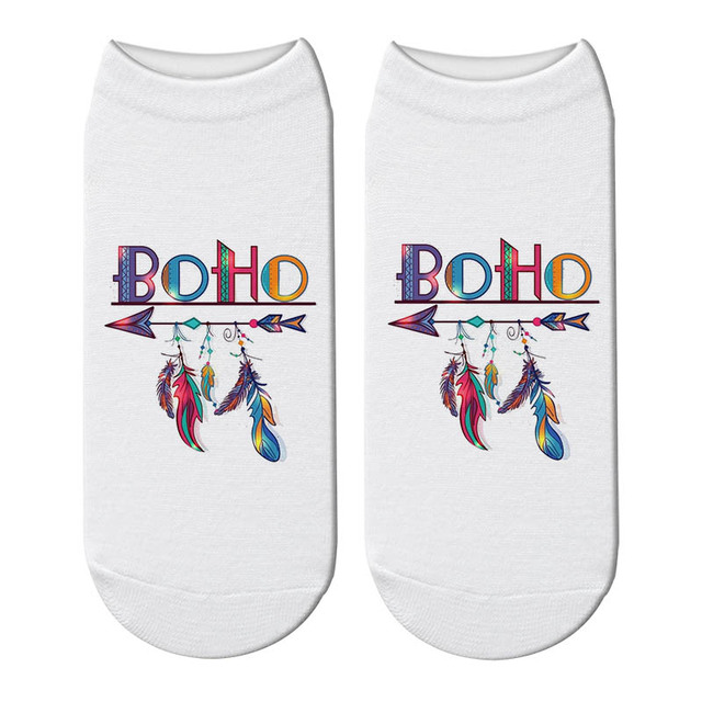 Boho Wild Feather Ankle Socks Mawgie