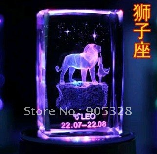 Free shipping Color changing LED lighting & constellation-Leo diamond cut glass paperweight
