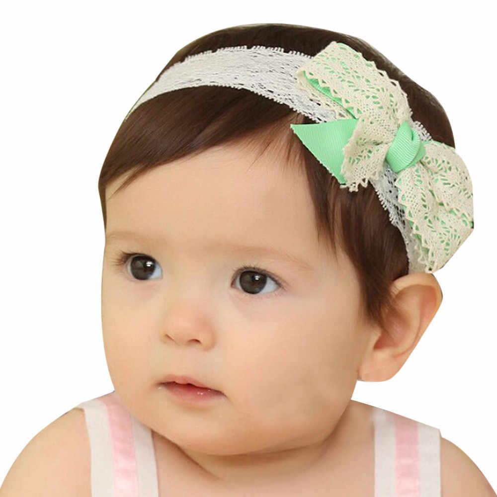 2019 เด็กหญิงสีเขียว Bowknot Headbands การถ่ายภาพ Props Elastic Lace Hairband เด็กทารกเด็กทารกเด็กวัยหัดเดิน Hairband Turban Knots