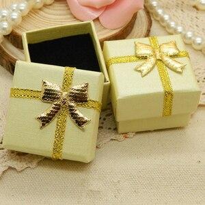Image 4 - Jewelry Box With Black Sponge 4X4X3cm Small Square Cardboard Earrings Gift Box Fashion Jewelry Display Organizer Packaging