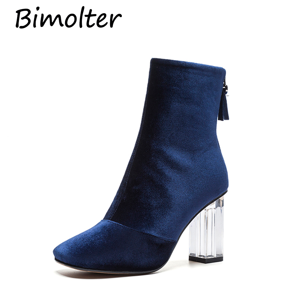 Bimolter Fashion Ankle Gold velvet Boots Chunky transparent High Heels Women Autumn Sexy Booties Pointed Toe Women Pump NA033 in Ankle Boots from Shoes