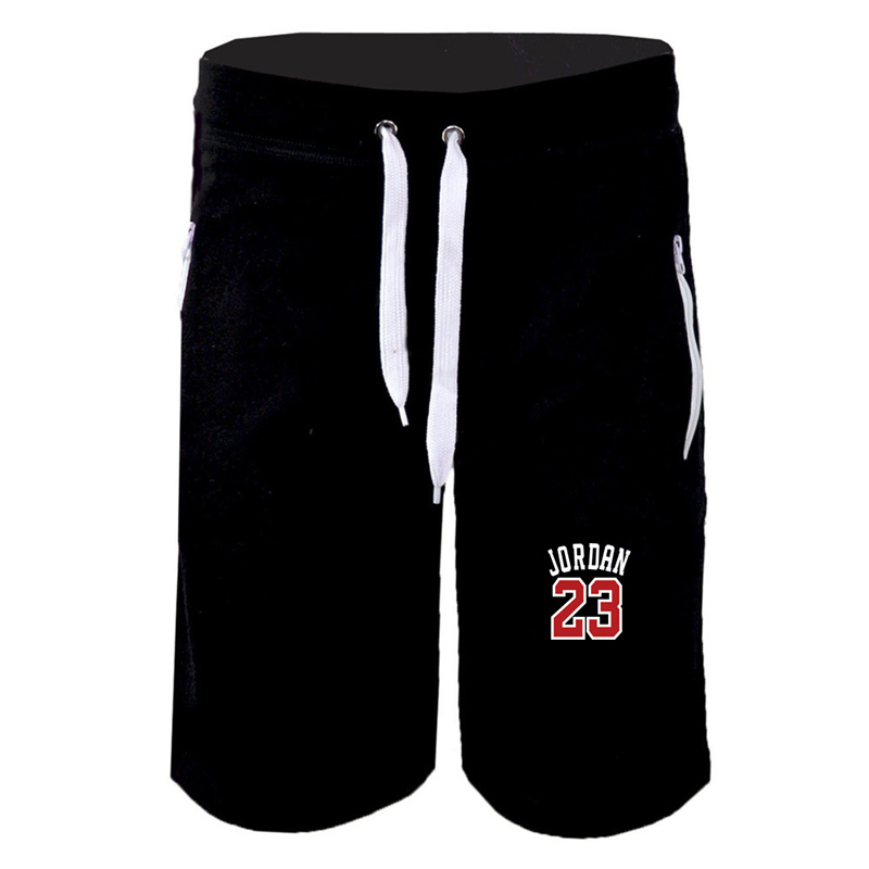 New Summer Men's Sports And Leisure Five Pants JORDAN 23 Letter Printing Zipper Stitching Pants Fitness Training Pants