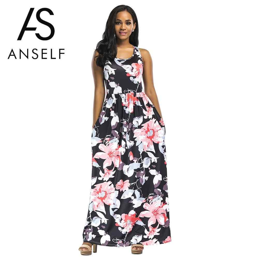 16cf4a8f93b6d20 Популярное летнее платье 2019 Для женщин Длинные платье макси Цветочный  Принт без рукавов пляжное платье Вечеринка