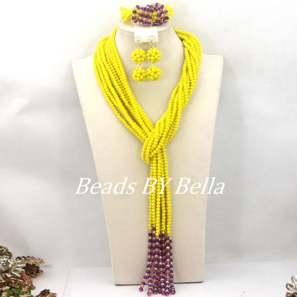 Hot Sale Loose Strands Crystal Beads Necklace Set African Wedding Bridal Jewelry Yellow Beads Jewelry Set Free Shipping ABC1172