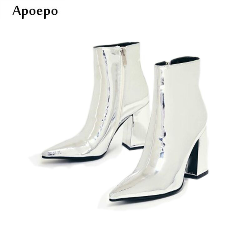 Apoepo Hot Selling Silver Metallic Leather High Heel Boots 2018 Spring Newest Pointed Toe Ankle Boots for Woman Riding Boots apoepo hot selling green suede high heel