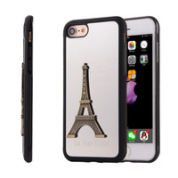 Mirror Soft Case For Iphone 7 Plus Metal Paris Eiffel Tower 3D Cover Full Protector Luxury