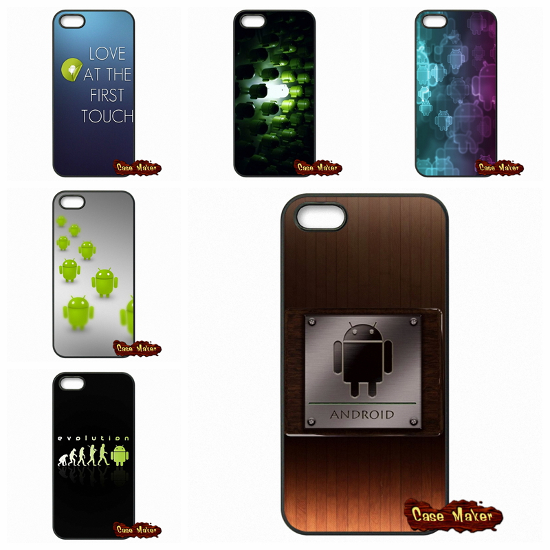 Luxury Android logo robot Cover Case For iPhone 4 4S 5S 5 5C SE 6 6S Plus iPod Touch 4 5 6 HTC One M7 M8 M9 LG G2 G3 G4 G5