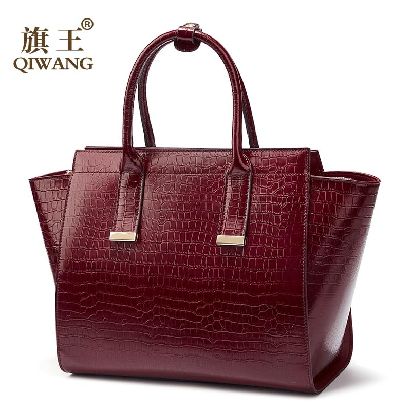 Luksusowe torebki damskie torby projektant prawdziwej skóry torebka damska gorące czerwone wino krokodyla panie torba dla kobiet bolsa feminina w Torebki na ramię od Bagaże i torby na  Grupa 2