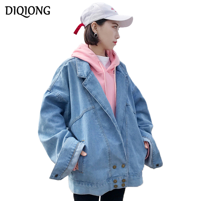 Diqiong 2018 New Korean Loose Denim Cape Coat Female Jacket Double-Breasted Big Size Women Windbreaker A-Line Denim Basic Coats