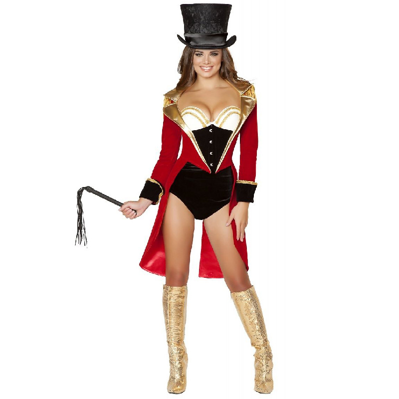 red ladies ringmaster costume adult sexy naughty circus ringleader halloween costumes for women fancy dress wholesale - Naughty Halloween
