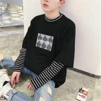 Ropa de hombre Six Girls Camiseta con estampado de moda suelta cuello redondo negro blanco rayado manga larga Camiseta hombres camiseta Masculina