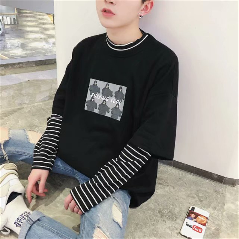 ZY Men Clothes Six Girls   T     Shirt   With Print Fashion Loose O Neck Black White Striped Long Sleeve   T     Shirt   Men Camiseta Masculina