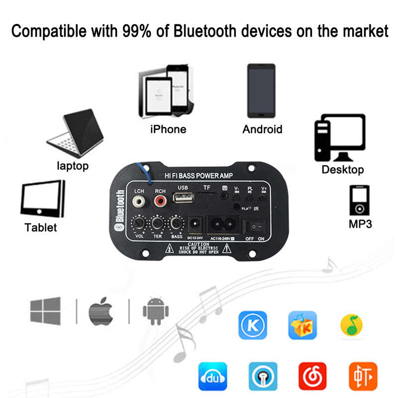 NEW 220V Car Hi-Fi Bluetooth 2.1 Digital Amplifier Dropshipping Bass Power AMP Mini Auto Amplifier With Remote Control