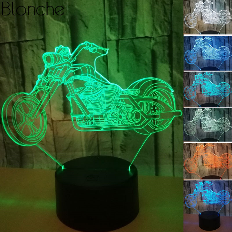 Amazing 3D Illusion LED Night Light Table Lamp USB Motorcycle Shape Touch Sensor 7 Colors Change Bedside Lamp Decor Holiday Gift