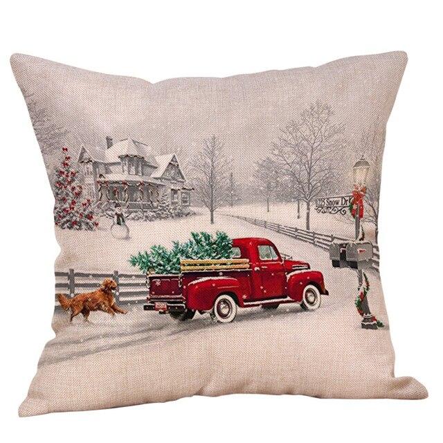 9 stili di Lino Coperture per Cuscini Ornamenti Di Natale Navidad Decorazioni Di