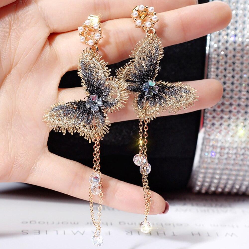 2019 New Fashion Women Pearl Earrings Embroidery Butterfly Crystal Long Tassel Drop Dangle Earrings Jewelry For Girls Gift