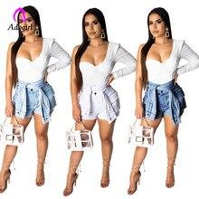 Hot Shorts High Waist Slim Jeans Shorts 2019 Summer Vintage Fake 2 Piece Shorts Tassel Pockets Slim Denim Shorts Plus Size S-2XL