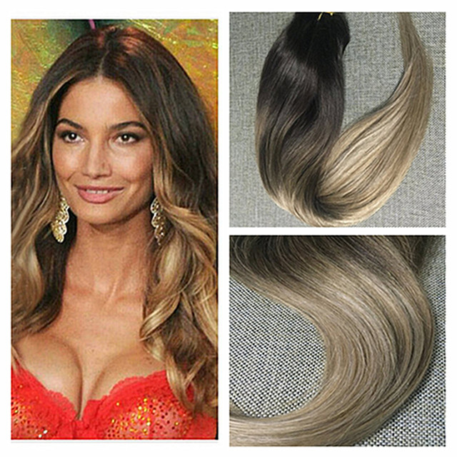 Full Shine Long Cheap Clip In Straight Remy Hair Extensions Balayage Dark Brown Roots Ombre