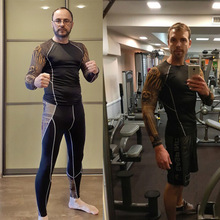 Одежда для фитнеса спортивный костюм из 2 предметов мужские спортивные колготки спортзал Бег тренировки компрессионная одежда термобелье спортивные костюмы 4XL