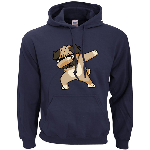 Animal Dabbing Pug Graphic Print Men's Hoodies  2
