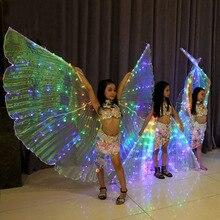 בנות צבעים LED אור איזיס מלאך כנפי פרפר תלבושות לילדים מזרחי ריקודי בטן ביצועי ריקוד אבזר